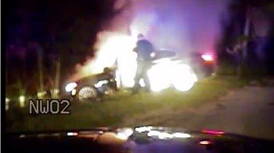 Vidéo : Il sauve la vie d'un conducteur de sa voiture en feu