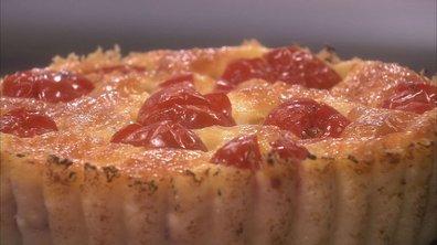 Tomates mozza en clafoutis, salade de roquette au basilic