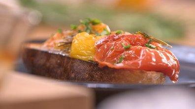 Tomates multicolores confites à la provençale