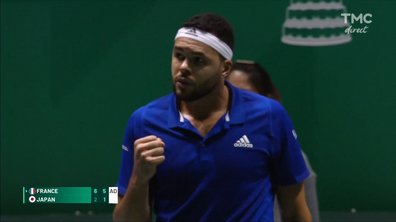 Coupe Davis : la balle de match de Tsonga face à Uchiyama en video
