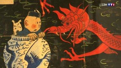 """Un dessin préparatoire pour la couverture du """"Lotus bleu"""" d'Hergé aux enchères"""