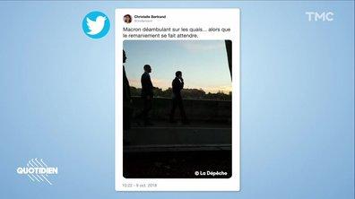 Zoom : la balade posée de Macron sur les quais, en plein remaniement