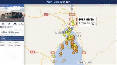 Zoom – Canal de Suez : un porte-conteneurs échoué provoque un gigantesque embouteillage