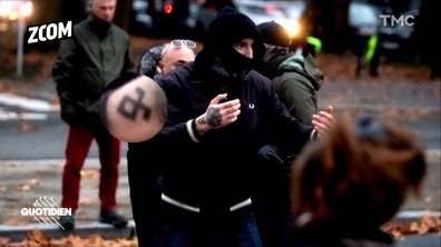 Zoom : la rune d'Odal, symbole récupéré par les nazis, à la marche anti-PMA