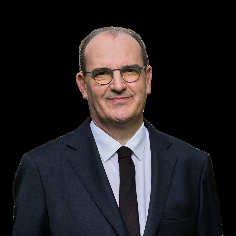 premier plan Conférence de presse du premier ministre Jean Castex