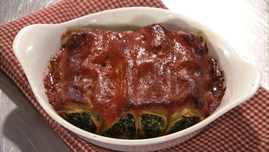 Cannellonis à la ricotta gratinés à la tomate mozzarella