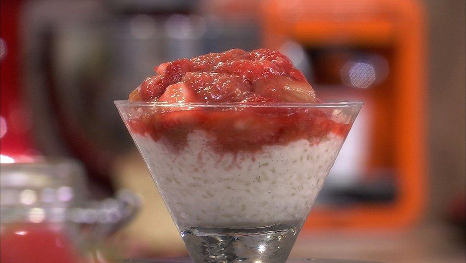 Riz au lait fraise et rhubarbe