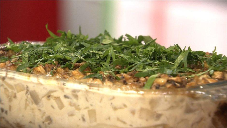 Gratin d'andouillette de Troyes aux champignons de Paris