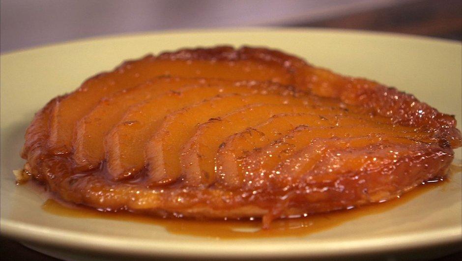 Tarte Tatin aux mangues caramélisées au citron vert