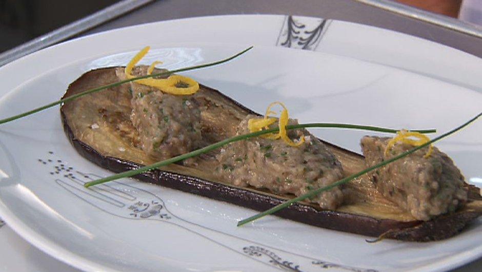 Aubergine confite et caviar d'aubergine