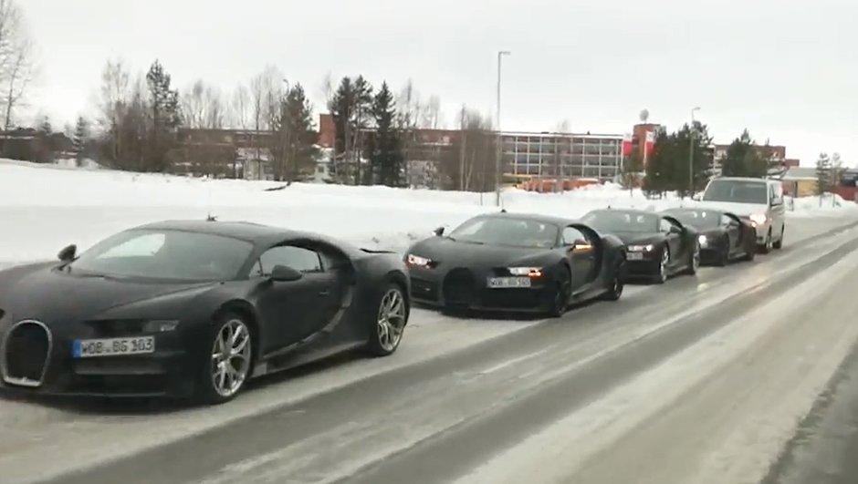 Insolite : un convoi de 4 Bugatti Chiron en Suède