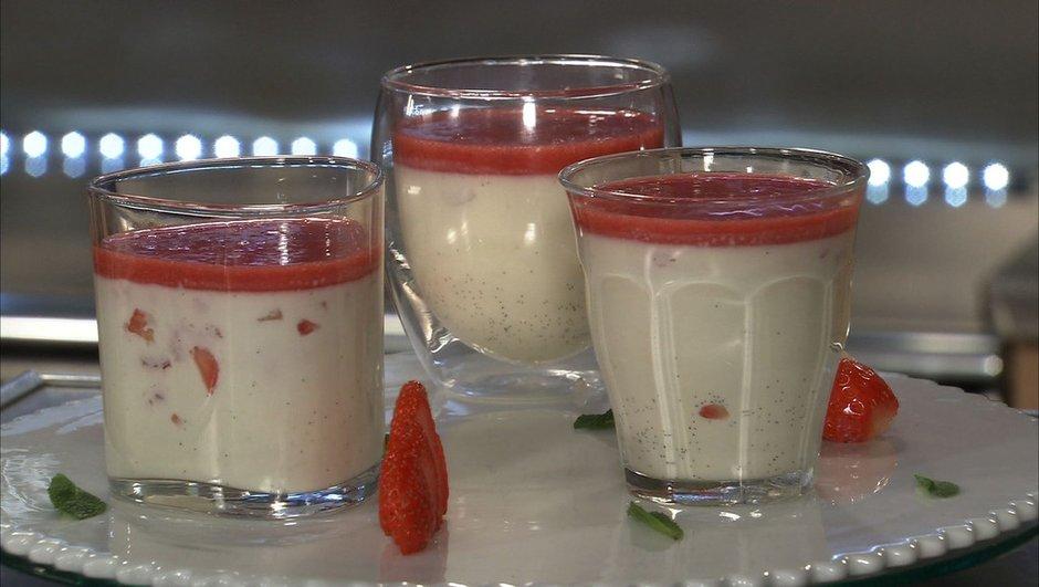 Panna Cotta à la fraise ciflorette et vanille