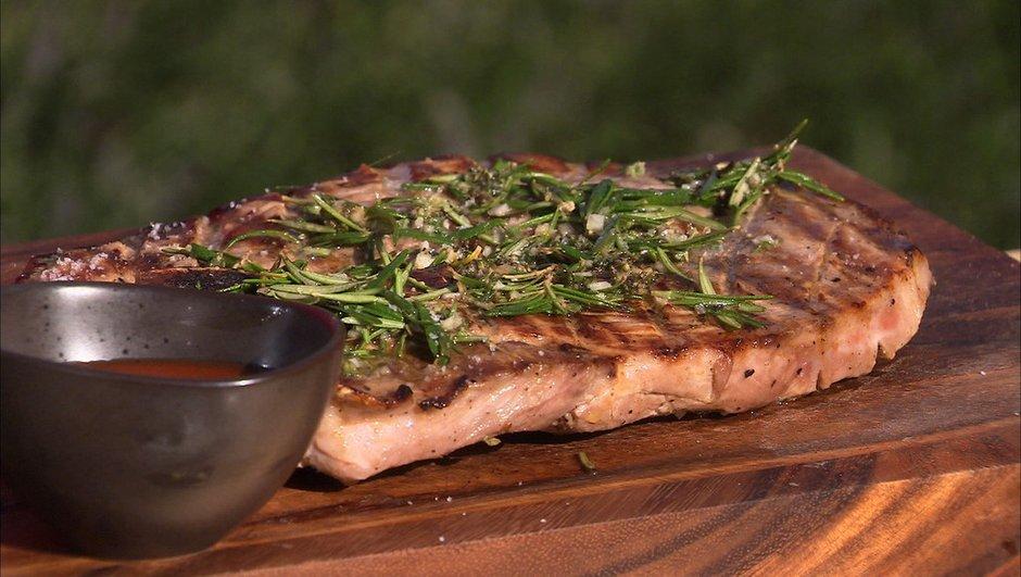 Rouelle de porc grillé, sauce barbecue