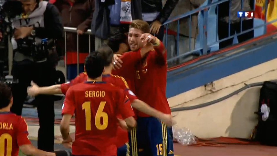 Espagne-France : but de Sergio Ramos, 1-0 (25ème)