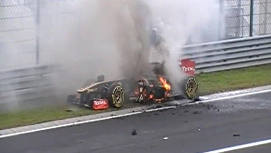 Insolite : La F1 de Nick Heidfeld en feu !