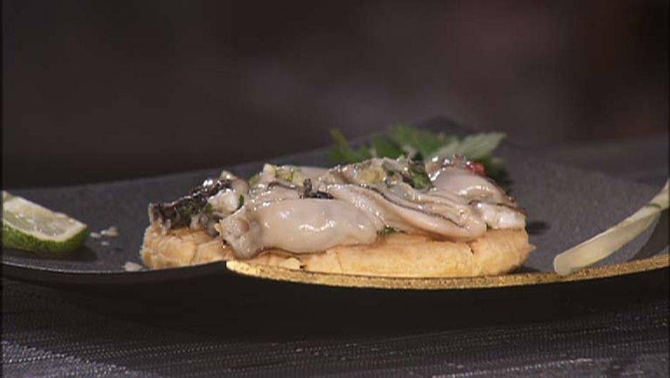 Tarte fine d'huîtres aux saveurs exotiques
