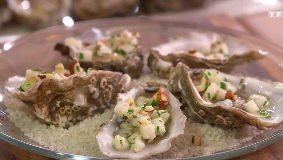 Huîtres de Normandie, poire & gingembre