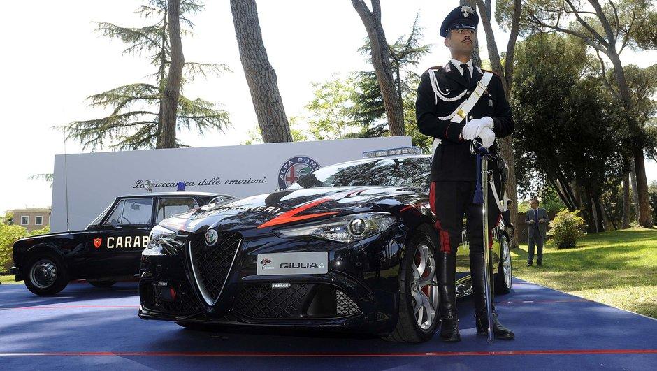 L'Alfa Romeo Giulia Quadrifoglio de la Carabinieri