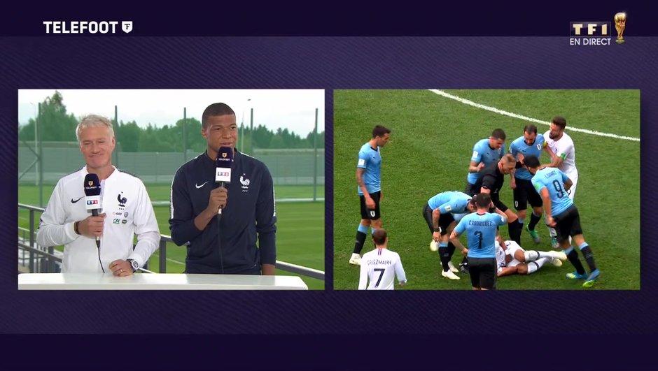 """[Exclu Téléfoot 08/07] - Deschamps sur le jaune de Mbappé face à l'Uruguay : """"Je ne voulais pas le perdre"""""""