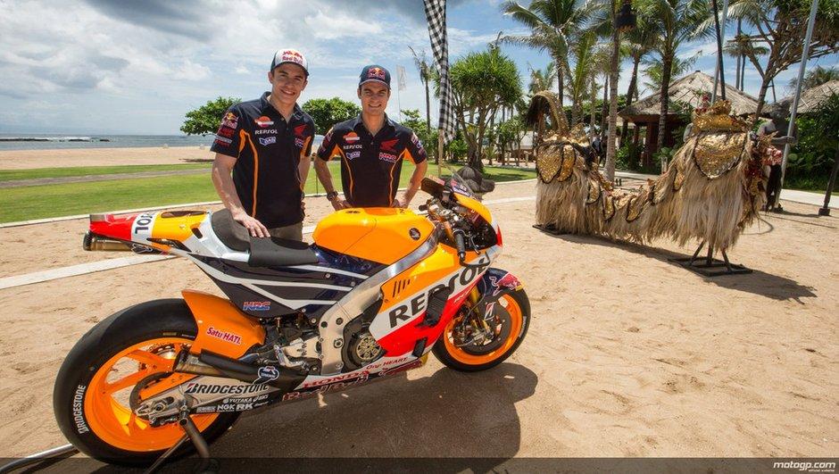 MotoGP 2015 : Marquez et Pedrosa dévoilent leur Honda à Bali