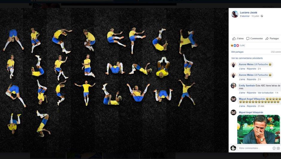 Un alphabet composé juste avec les chutes de Neymar