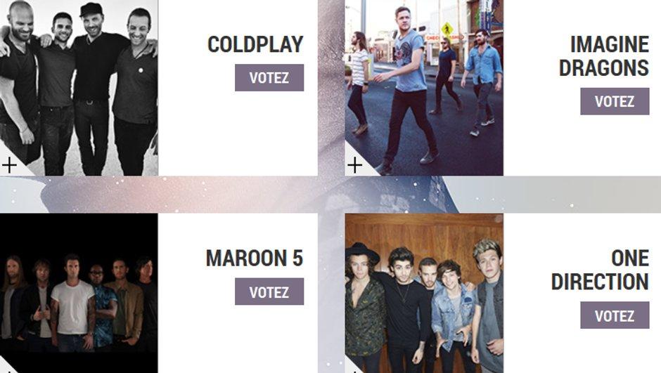 """Coldplay, Imagine Dragons, Maroon 5, One Direction - Les nommés dans la catégorie """"Groupe International de l'année"""" aux NRJ Music Awards 2014"""