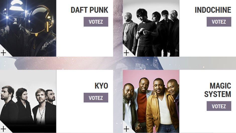 """Daft Punk, Indochine, Kyo, Magic System - Les nommés dans la catégorie """"Groupe Francophone de l'année"""" aux NRJ Music Awards 2014"""