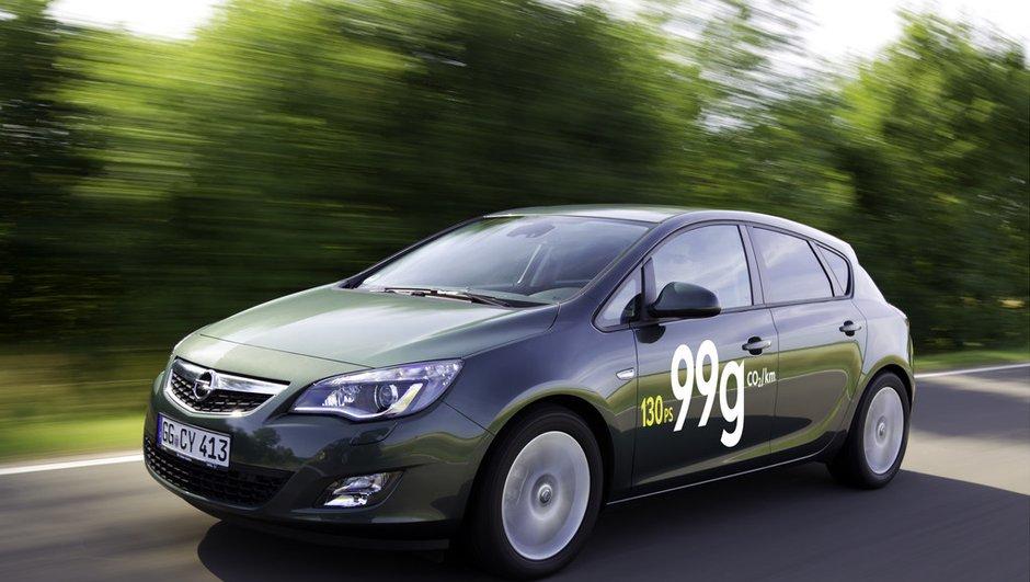 Opel Astra ecoFLEX 130 ch : 99 g/km et 3,7 l/100km