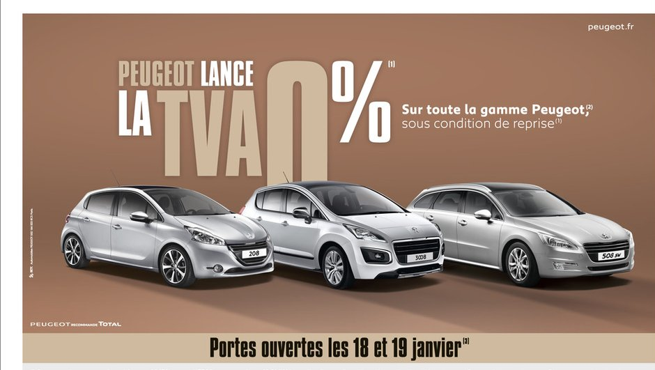 "Promotion : Peugeot lance l'opération ""TVA 0%"""