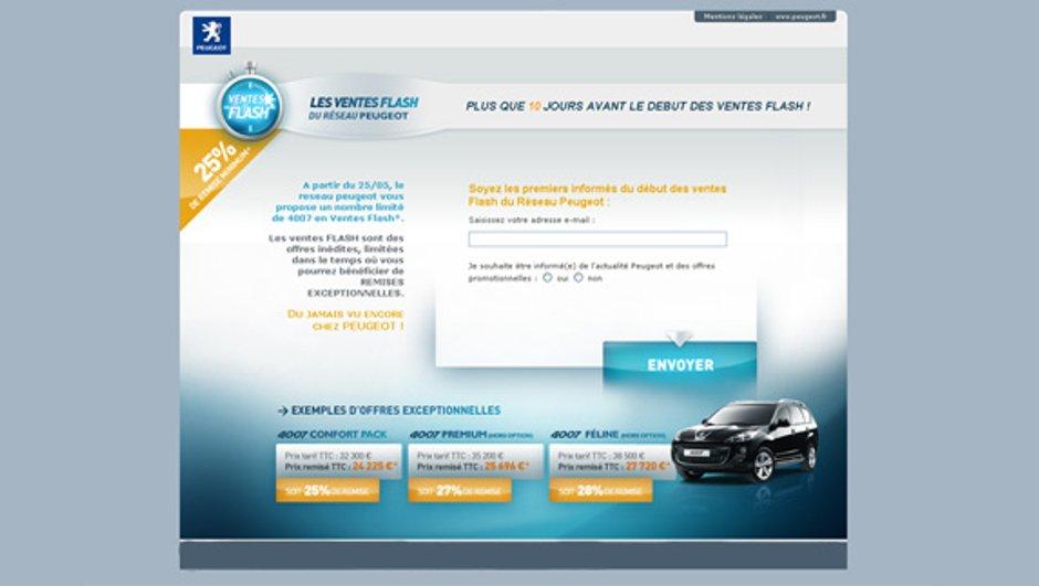 Webstore Peugeot : premières ventes flash de 4007
