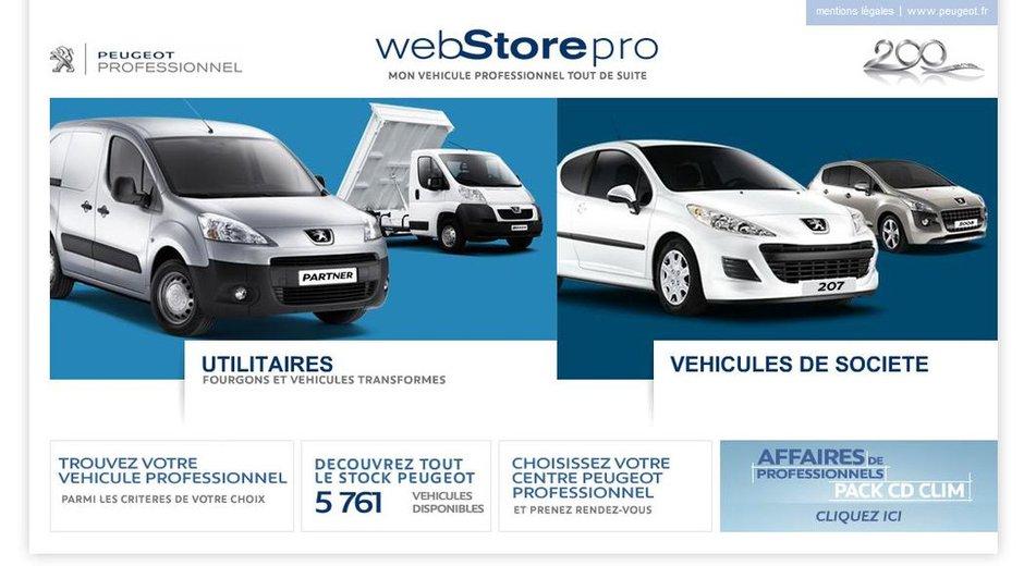 Peugeot WebStorePro : le stock de véhicules professionnels