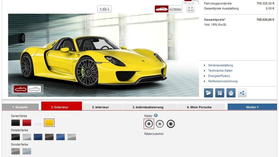 Porsche 918 Spyder : configurez la vôtre !