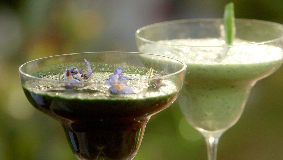 Cocktail au jus de concombre et bourrache glacée à la spiruline