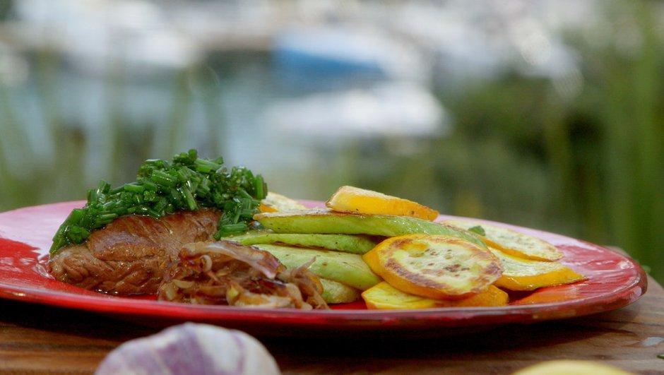 Onglet de veau à la plancha à l'huile d'olive et au balsamique blanc