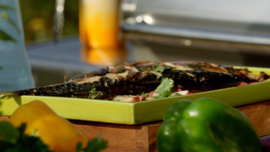 Maquereaux grillés et salade de poivrons multicolores au vinaigre balsamique