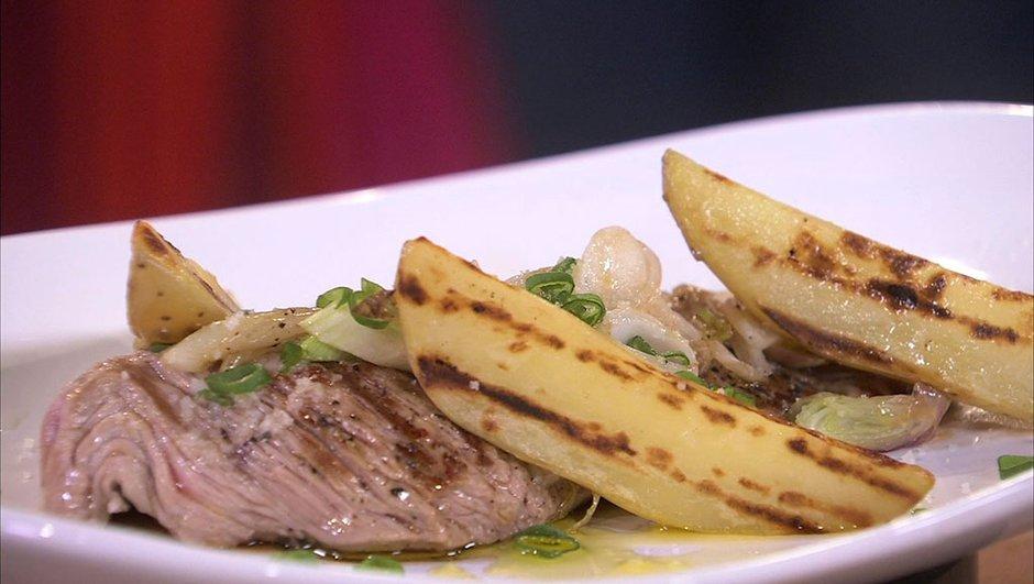 Bavette de veau grillée à l'échalote et pommes de terre