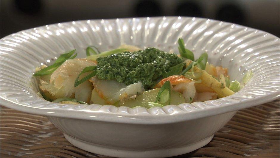 Salade de bonnottes de Noirmoutier au haddock et pistou de chèvre frais
