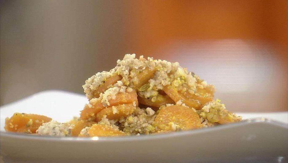Crumble de carottes au miel et aux épices
