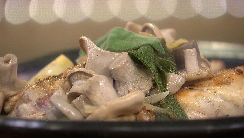Cuisse de lapin à la sauge et champignons de printemps