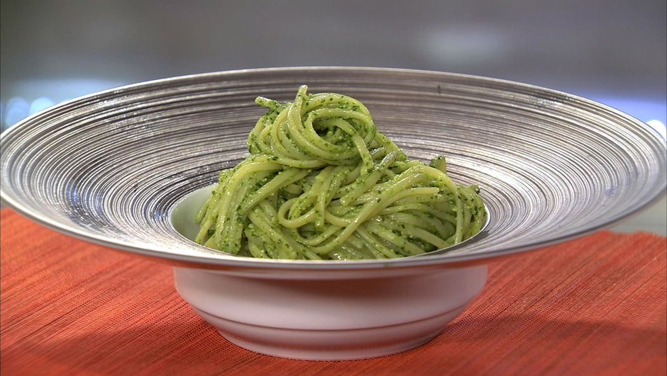 linguine au pesto de cresson