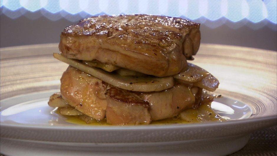 Foie gras de canard rôti aux légumes anciens