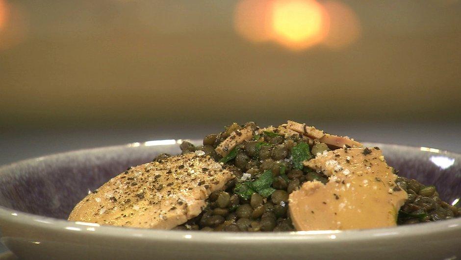 Salade de lentilles au foie gras