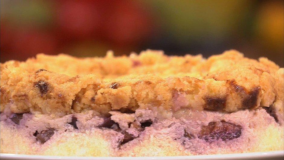 Mi-cheese-cake mi-crumble aux quetsches