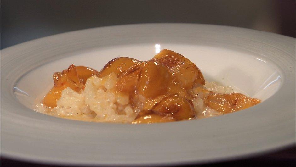 Mirabelles caramélisées au beurre salé et riz au lait à la vanille