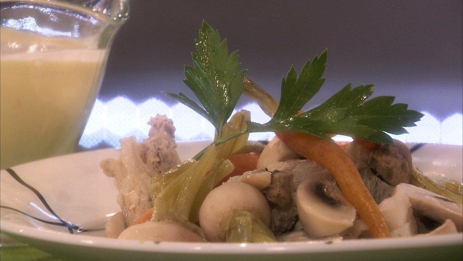 Poitrine de veau aux légumes nouveaux, sauce blanche