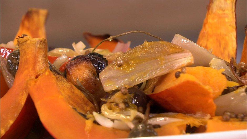 Potimarron rôti aux olives