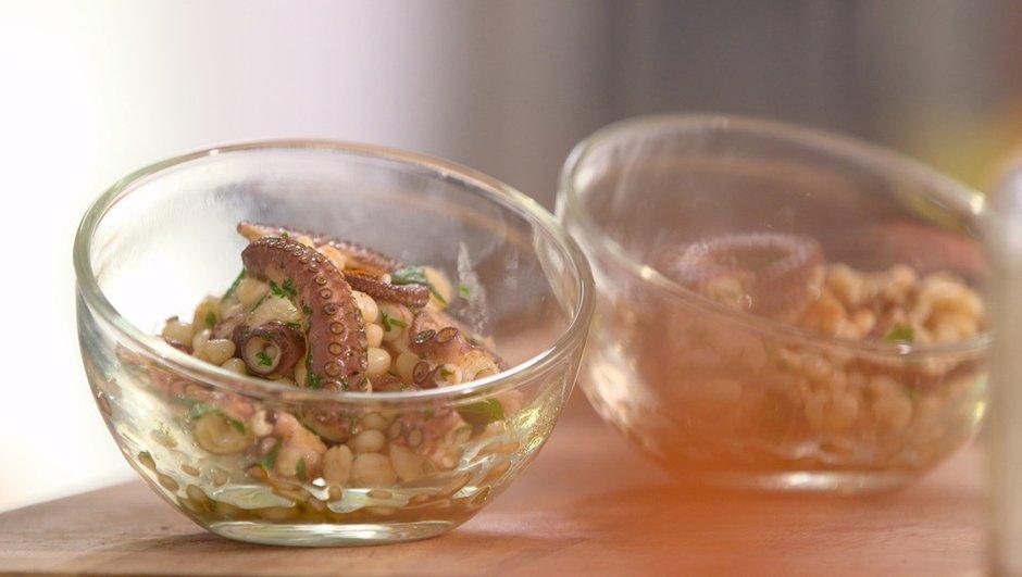 Salade de poulpe tiède au thé vert aux haricots coco