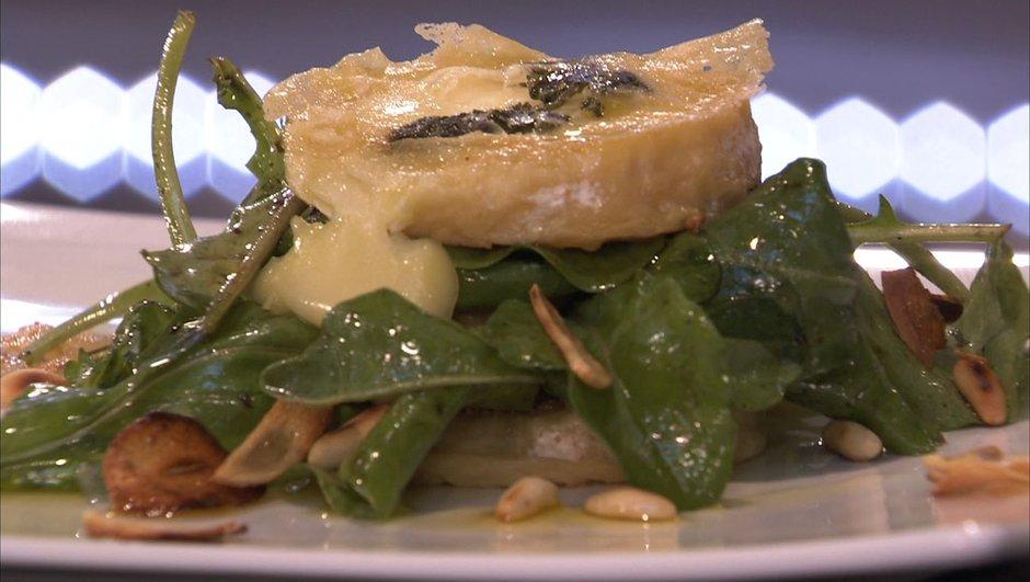 Salade de roquette aux pignons de pin et pélardons rôtis au thym