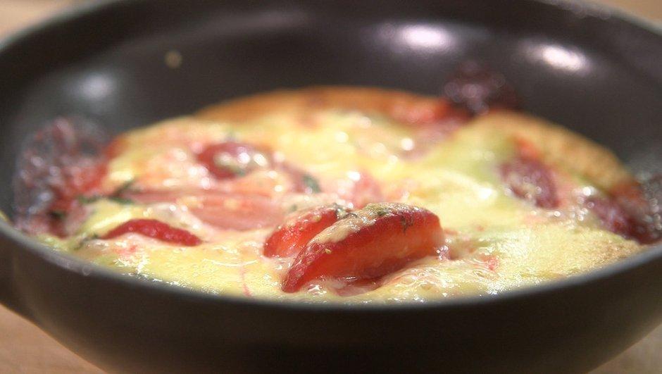 Sabayon gratiné aux fraises à la menthe poivrée