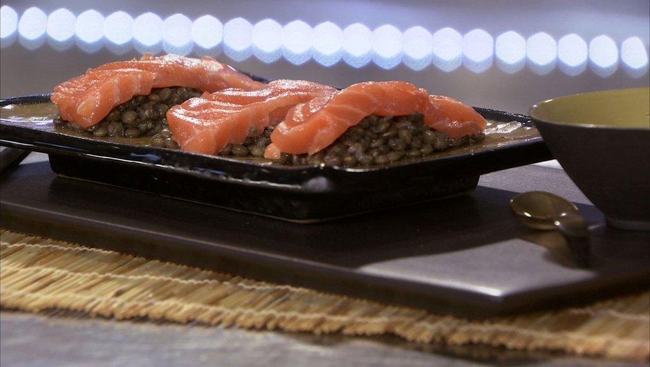 Sashimi de saumon aux lentilles